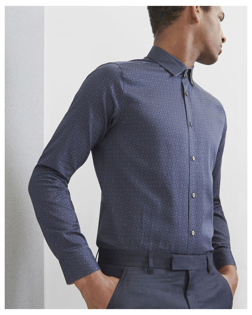Ted Baker Geometric print cotton shirt Navy