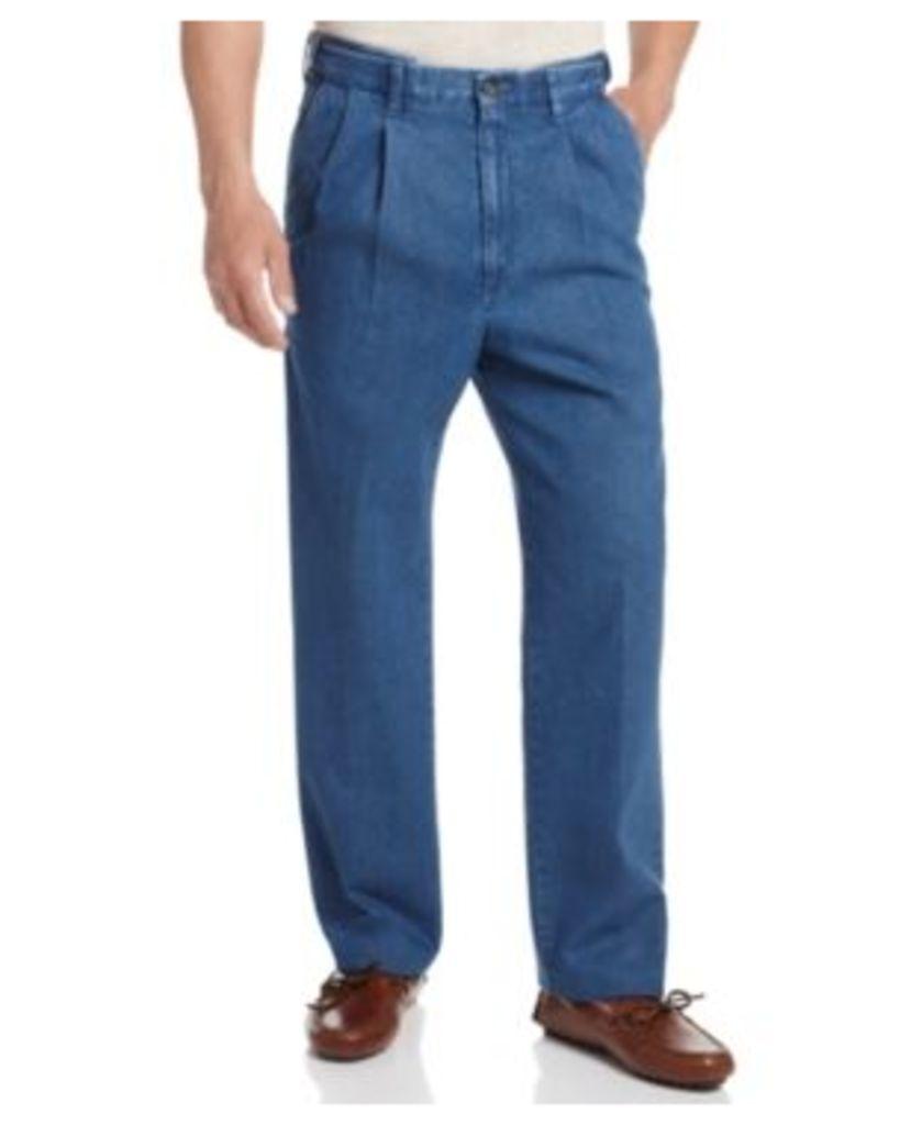 Haggar Denim Work to Weekend Big and Tall Pleated Pants