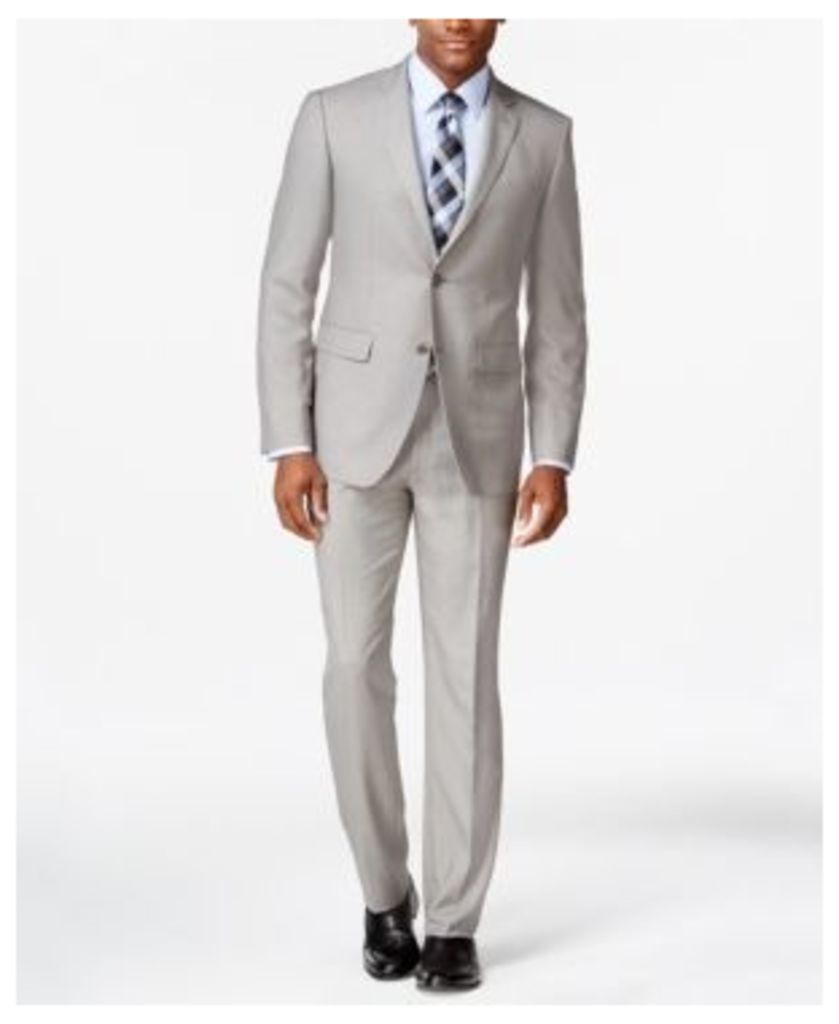 Perry Ellis Portfolio Light Grey Sharkskin Slim-Fit Suit