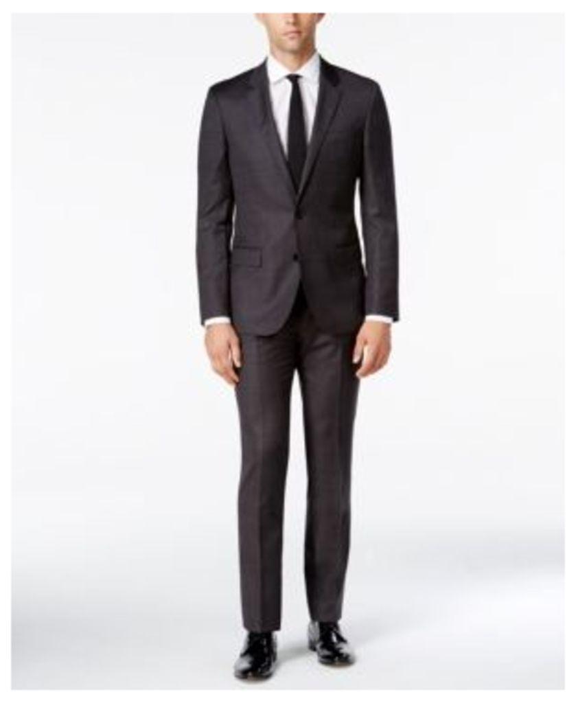 Boss Men's Extra-Slim Fit Charcoal Dot Suit