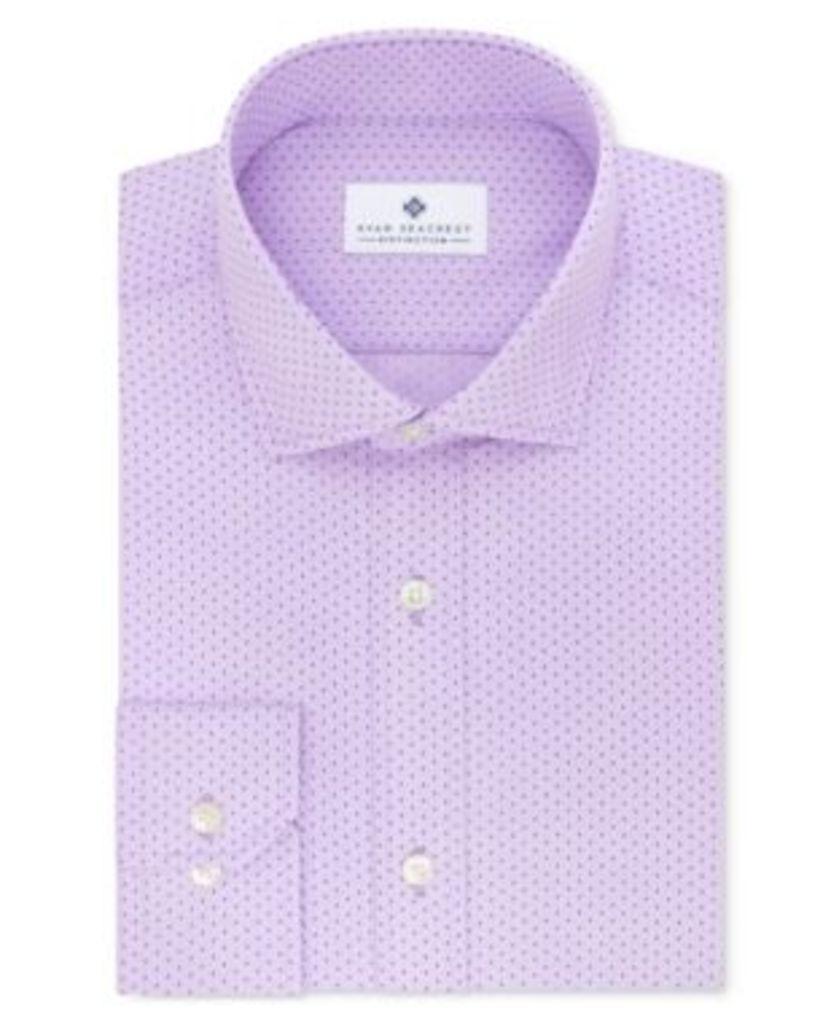 Ryan Seacrest Distinction Men's Slim-Fit Non-Iron Purple Geo-Print Dress Shirt, Only at Macy's
