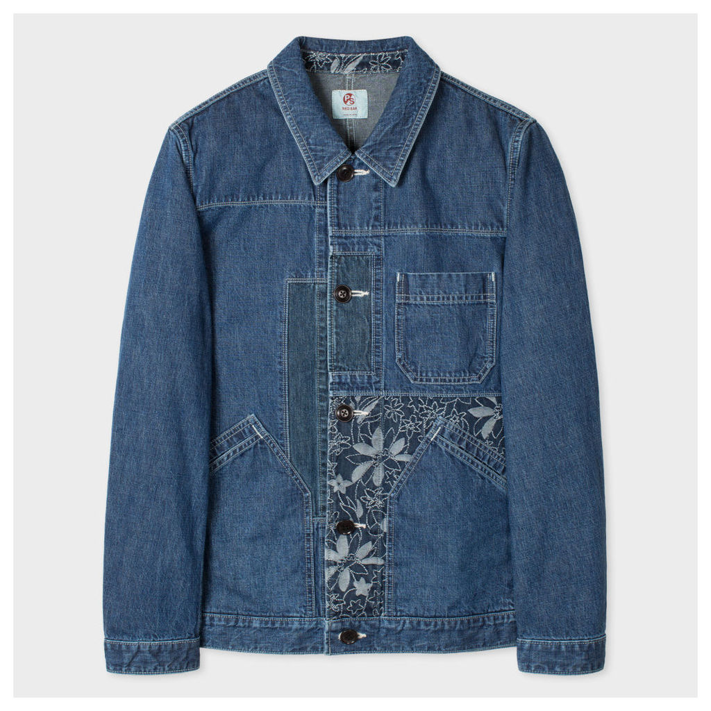 Men's Denim Red Ear Chore Jacket With Embroidered Patches