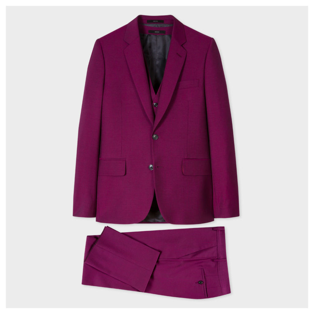 Men's Tailored-Fit Purple Wool-Mohair Three-Piece 'A Suit To Travel In'