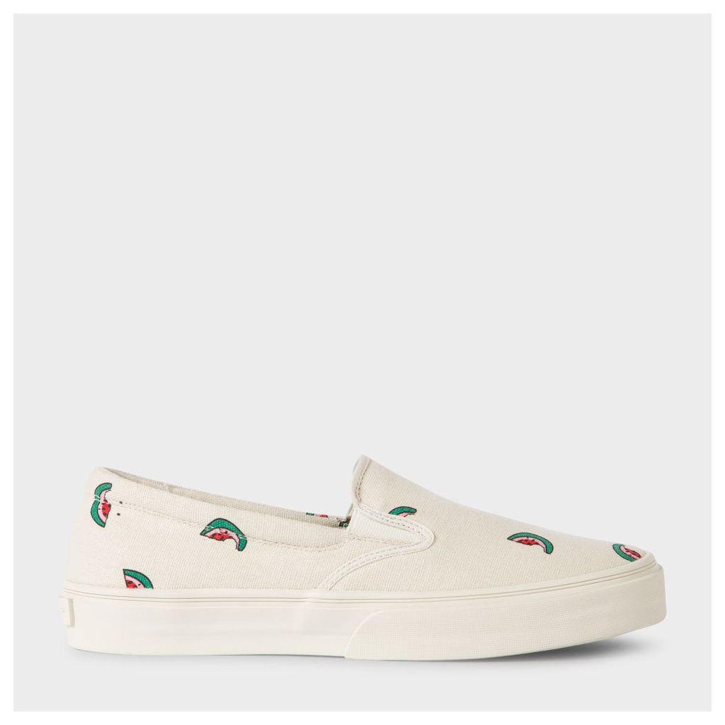 Men's Ecru Cotton-Canvas 'Clyde' Trainers With Watermelon Print