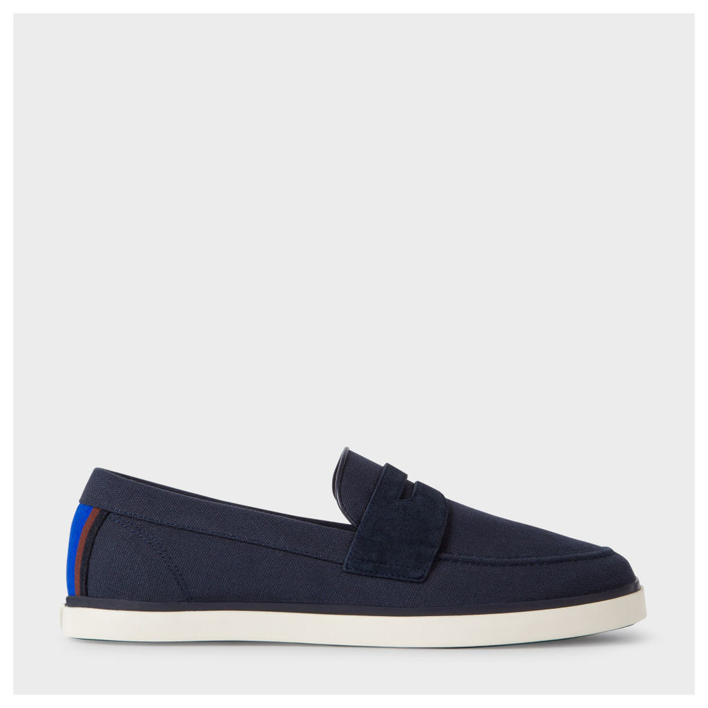 Men's Navy Canvas 'Cheree' Slip-On Trainers