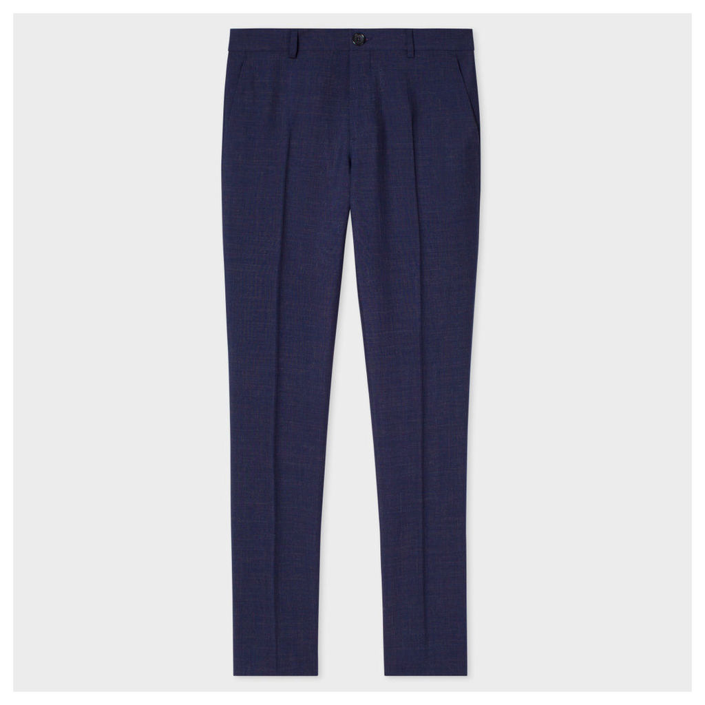 Men's Slim-Fit Navy Wool And Mohair-Blend Multi-Colour Crosshatch Trousers