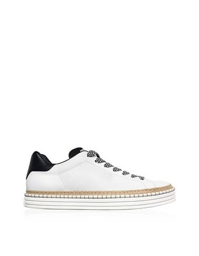 Hogan - R260 Off White Leather Men's Sneakers w/Woven Rope Edge
