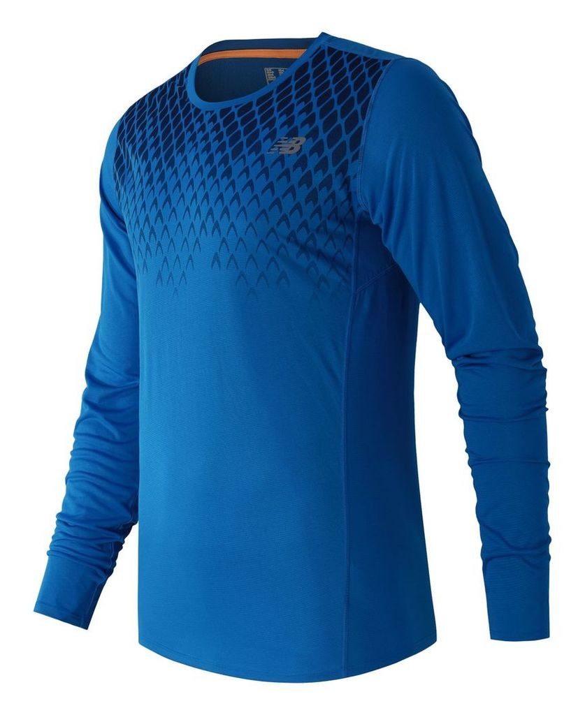 New Balance Accelerate Long Sleeve Printed Top Men's Apparel Outlet MT53065SNP