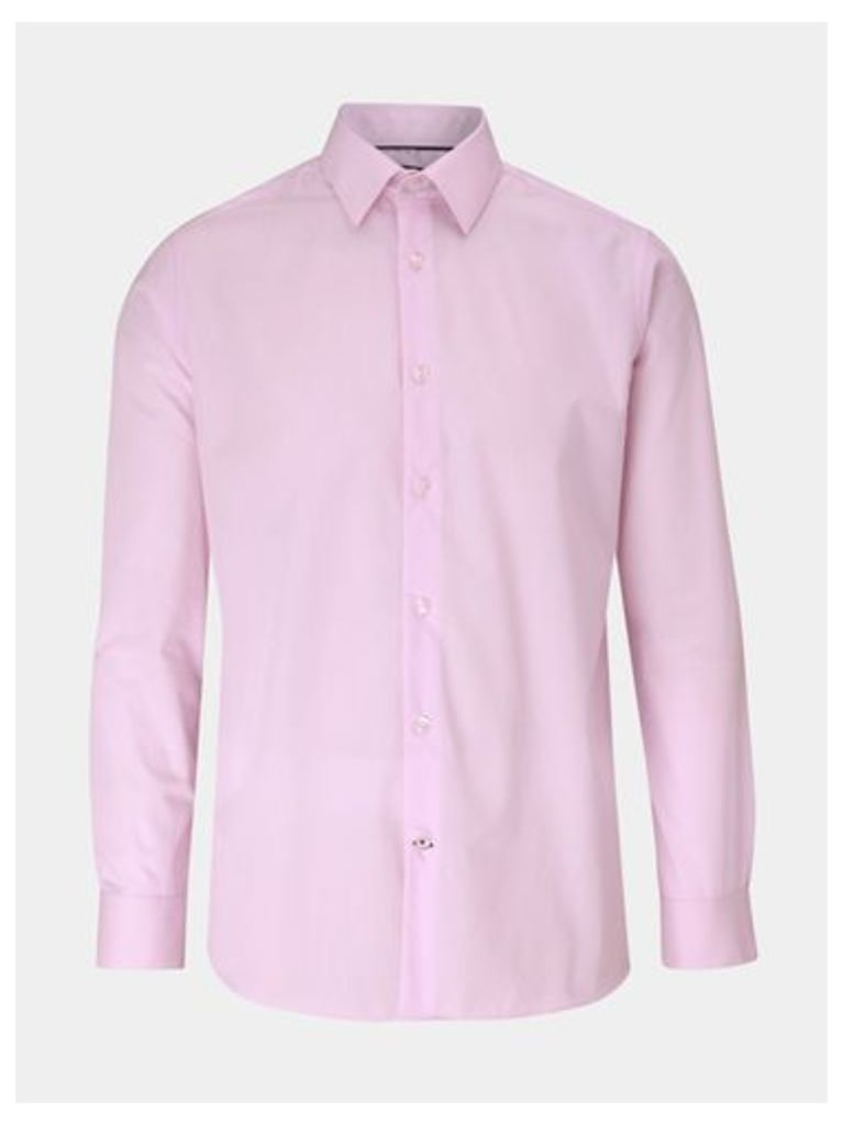 Mens Pink Tailored Fit Easy Iron Shirt, PINK