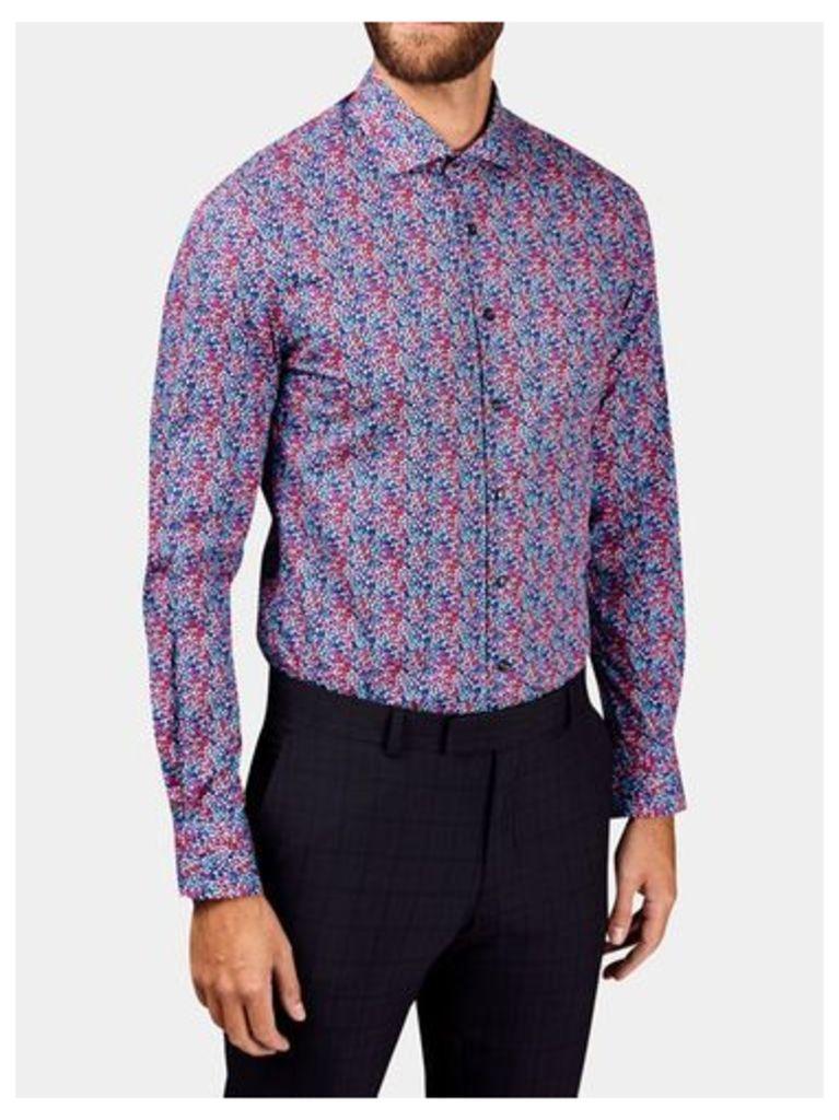Mens West End by Simon Carter Multi-Coloured Petal Slim Fit Cotton Shirt*, WHITE