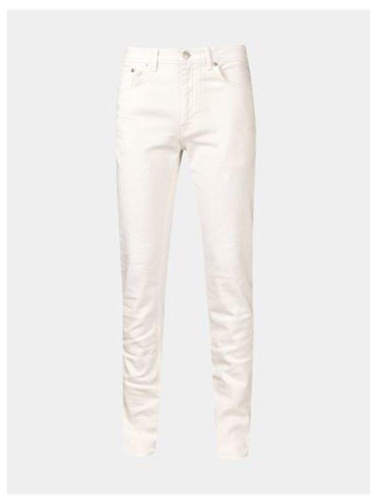 Mens White Skinny Fit 5 Pocket Jeans, White