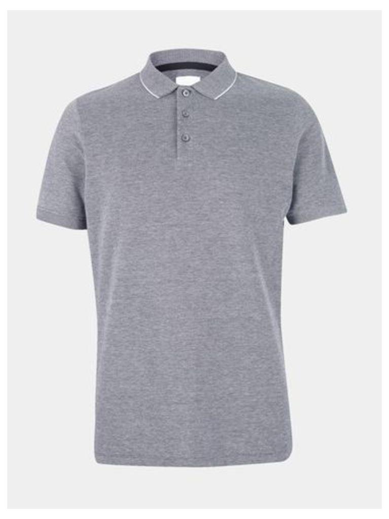 Mens Grey Two Tone Polo Shirt, Grey