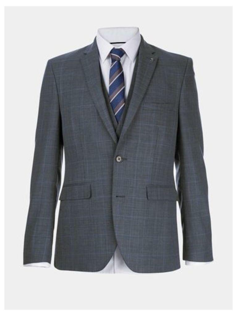 Mens Montague Burton 100% Wool Blue Check Suit Jacket, BLUE