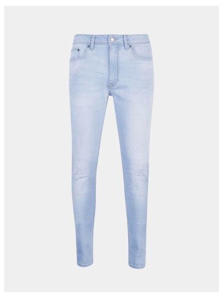Mens Light Blue Wash Super Skinny Jeans, Blue