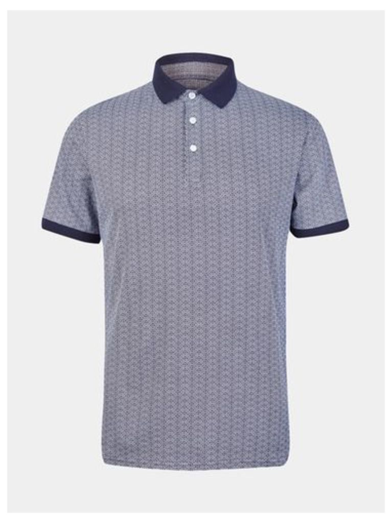 Mens Navy Ditsy Print Polo Shirt, Navy