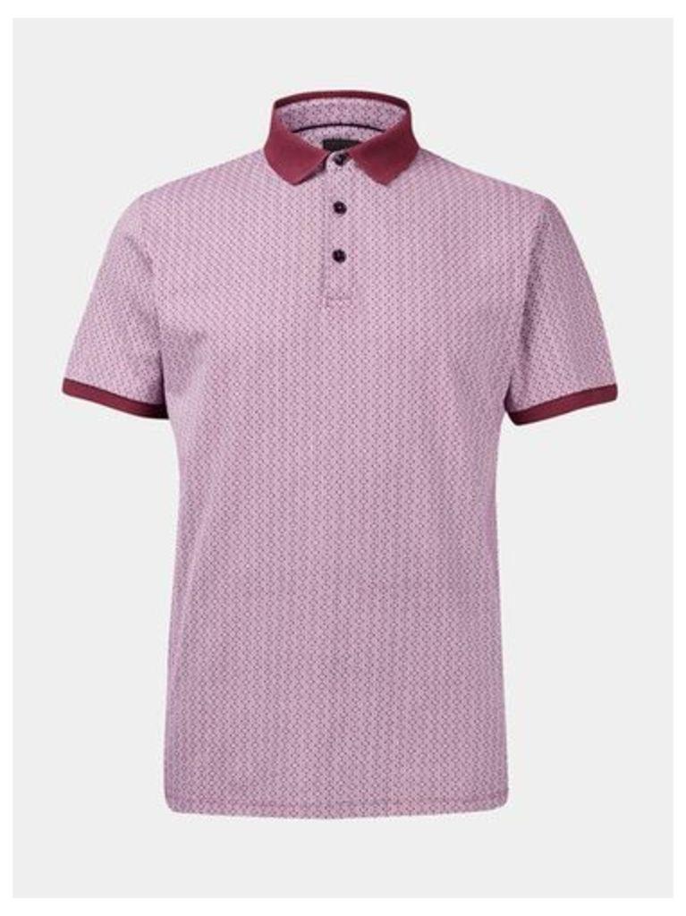 Mens Pink Ditsy Printed Polo Shirt, Pink