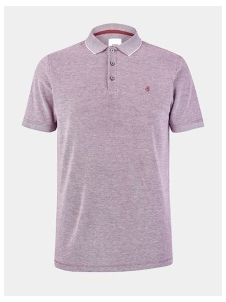 Mens Berry Embroidered Pique Polo Shirt, RED