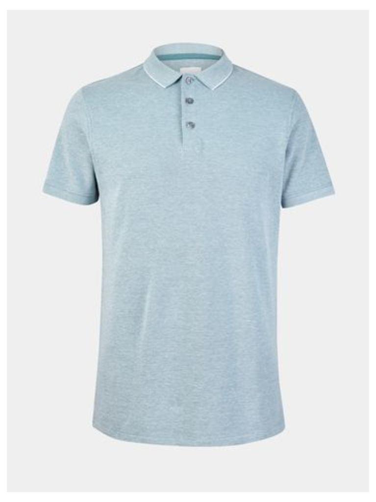 Mens Mint Two Tone Pique Polo Shirt, MID GREEN