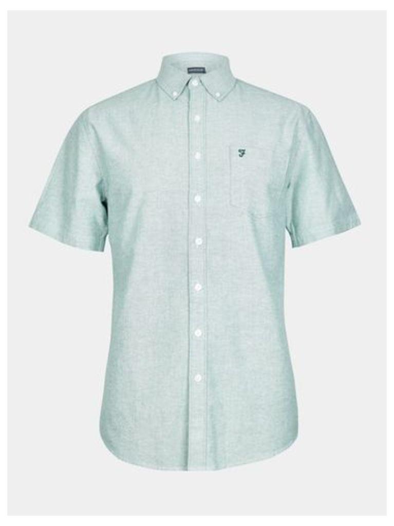 Mens Farah Green Short Sleeve Oxford Shirt*, Green