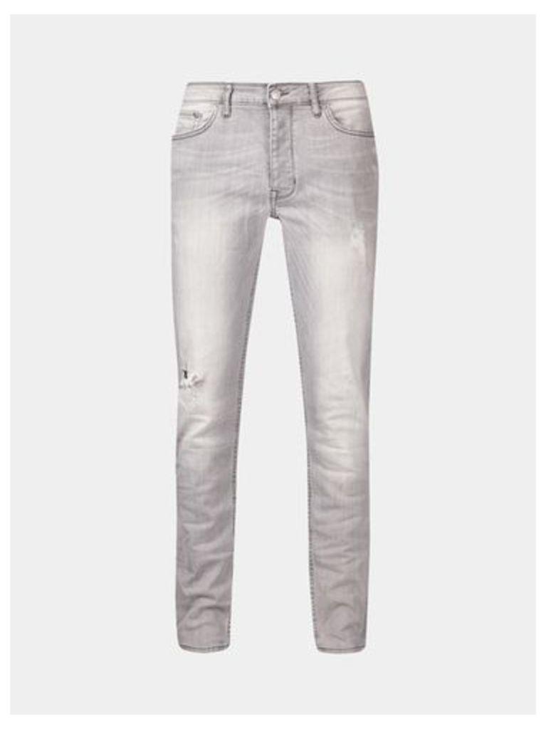 Mens Light Grey Skinny Fit Clean Distressed Jeans, Grey