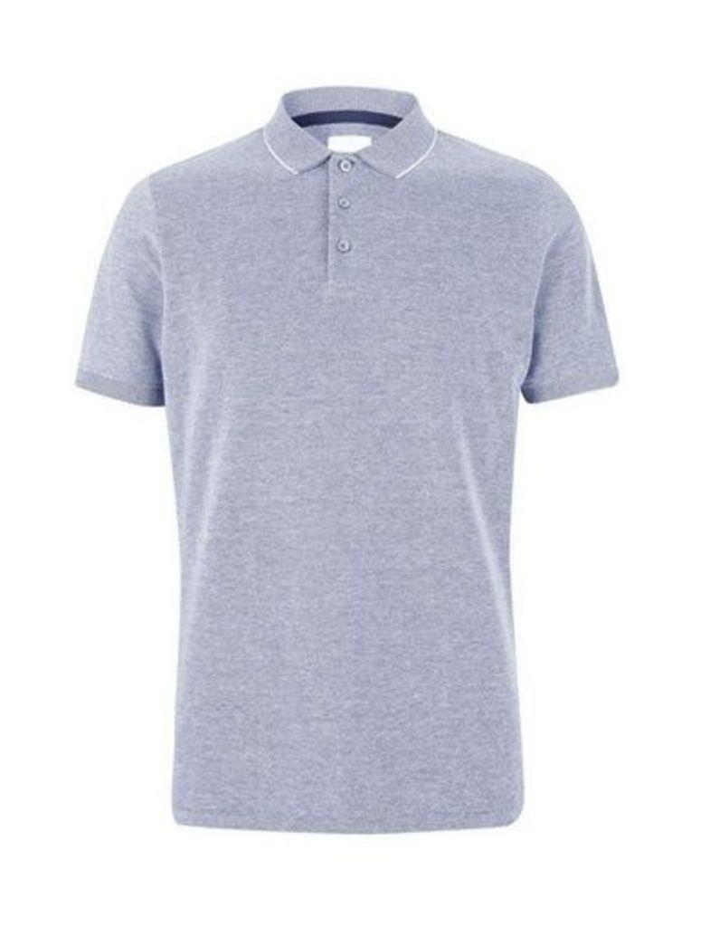 Mens Indigo Two Tone Pique Polo Shirt, Blue