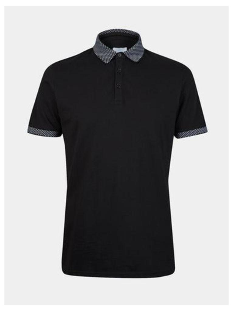 Mens Black Jacquard Collar Polo Shirt, BLACK