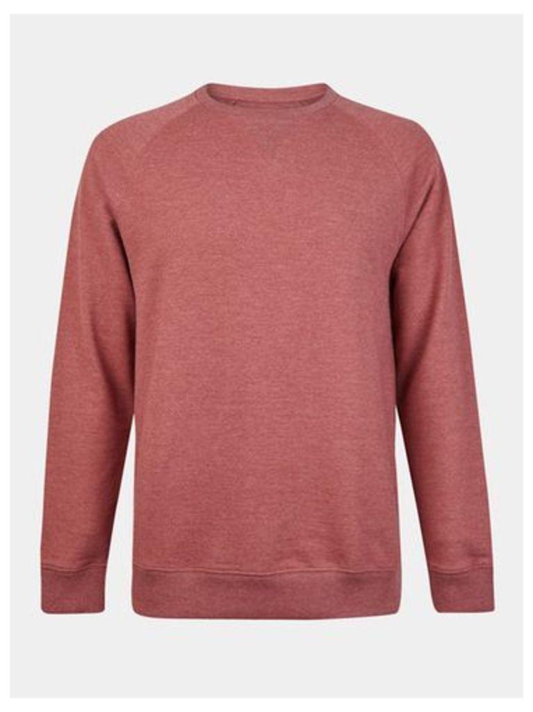Mens Red Marl Crew Neck Sweatshirt, RED
