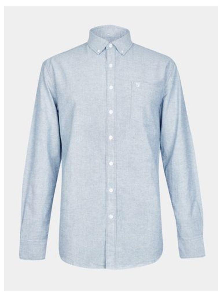 Mens Farah Blue Long Sleeve Oxford Shirt*, Blue