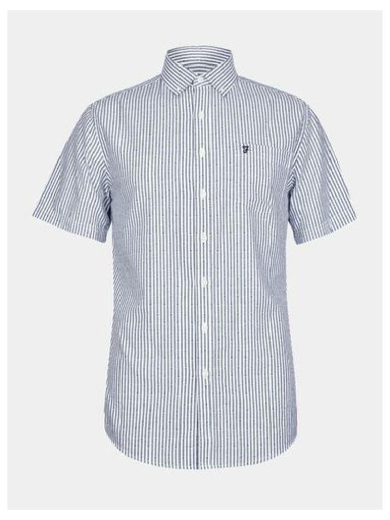 Mens Farah Navy Short Sleeve Dobby Shirt*, Blue