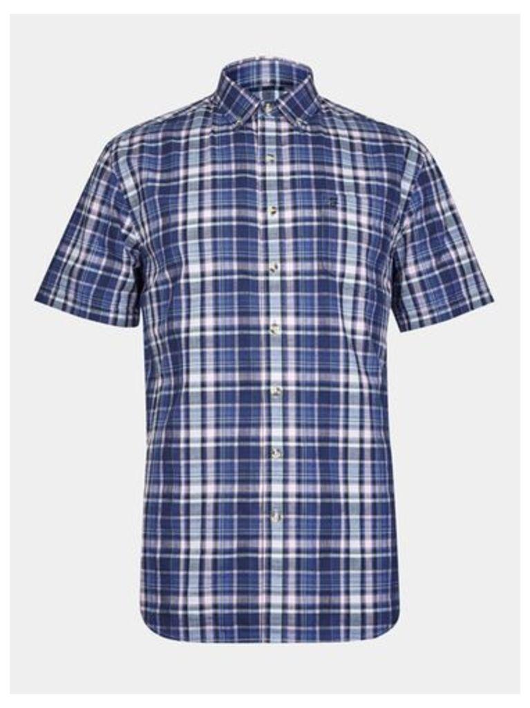 Mens Farah Navy Blue Short Sleeve Textured Weave Check Shirt*, Blue