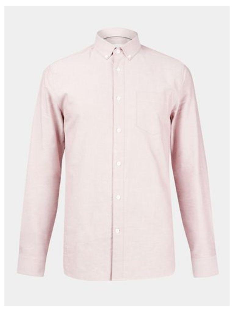 Mens Pink Long Sleeve Oxford Shirt, BURGUNDY