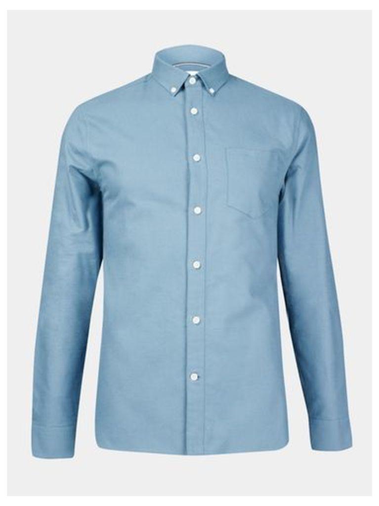 Mens Teal Long Sleeve Oxford Shirt, Mid Green
