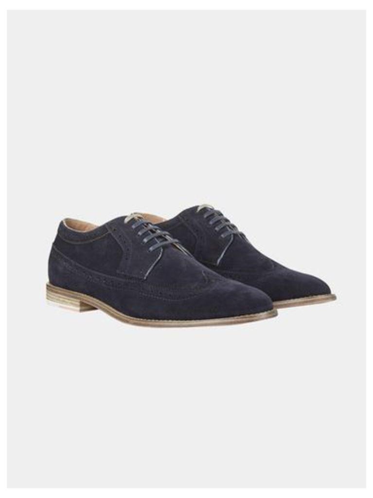 Mens Navy Suede Look Brogue Shoes, Blue