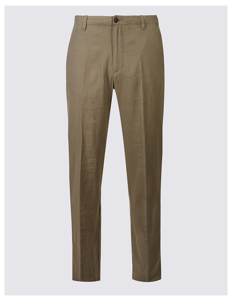 M&S Collection Regular Fit Linen Rich Trousers