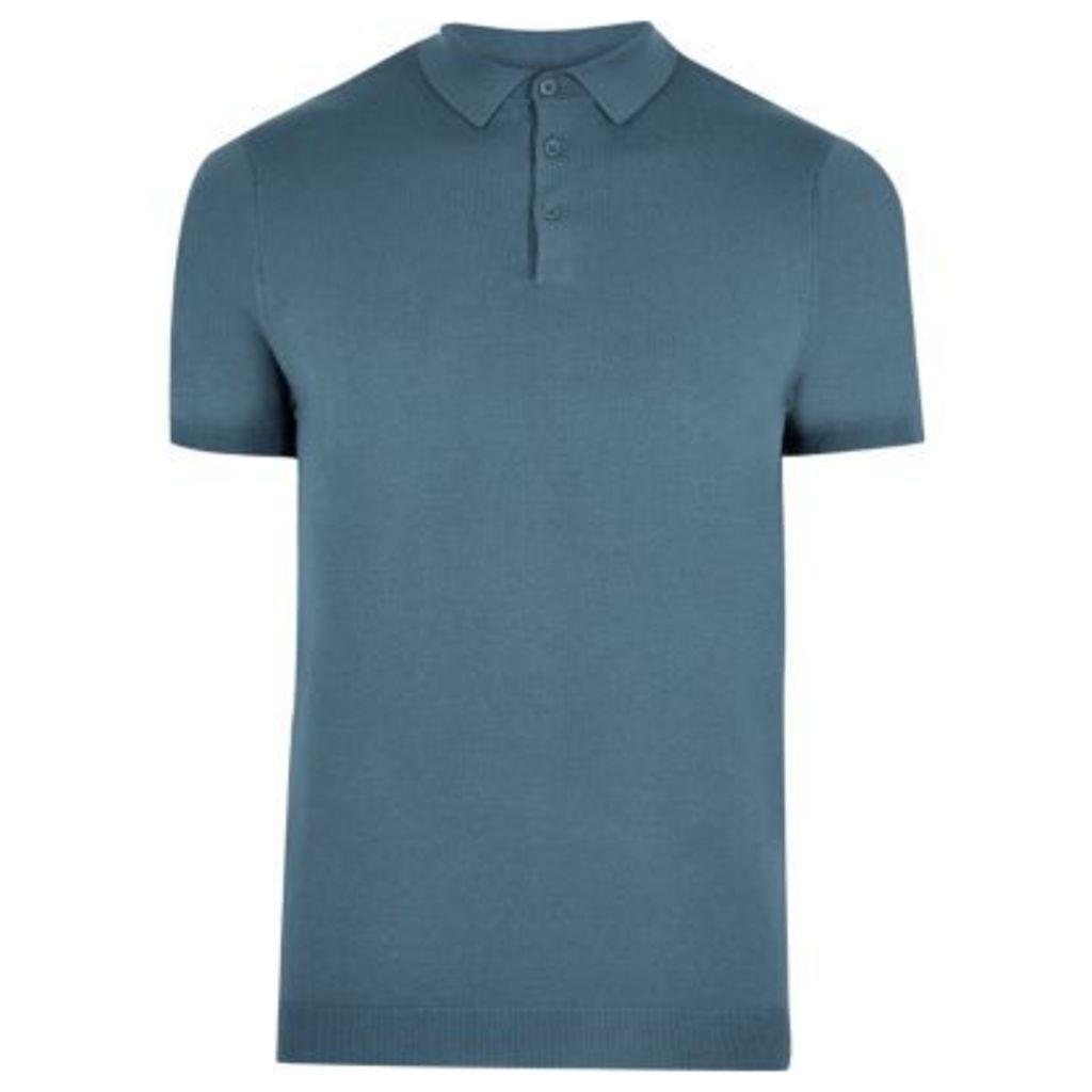River Island Mens Blue slim fit polo shirt