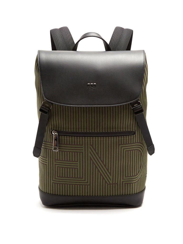 Optical-striped canvas and leather backpack