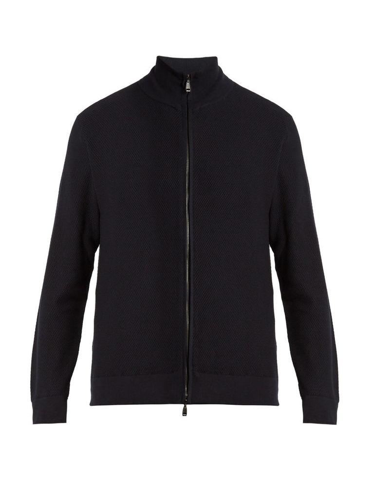 High-neck zip-through cotton sweater