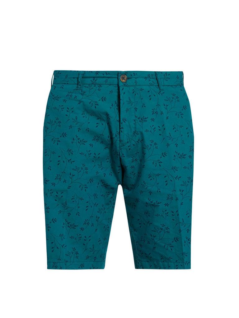 Leaf-print cotton shorts