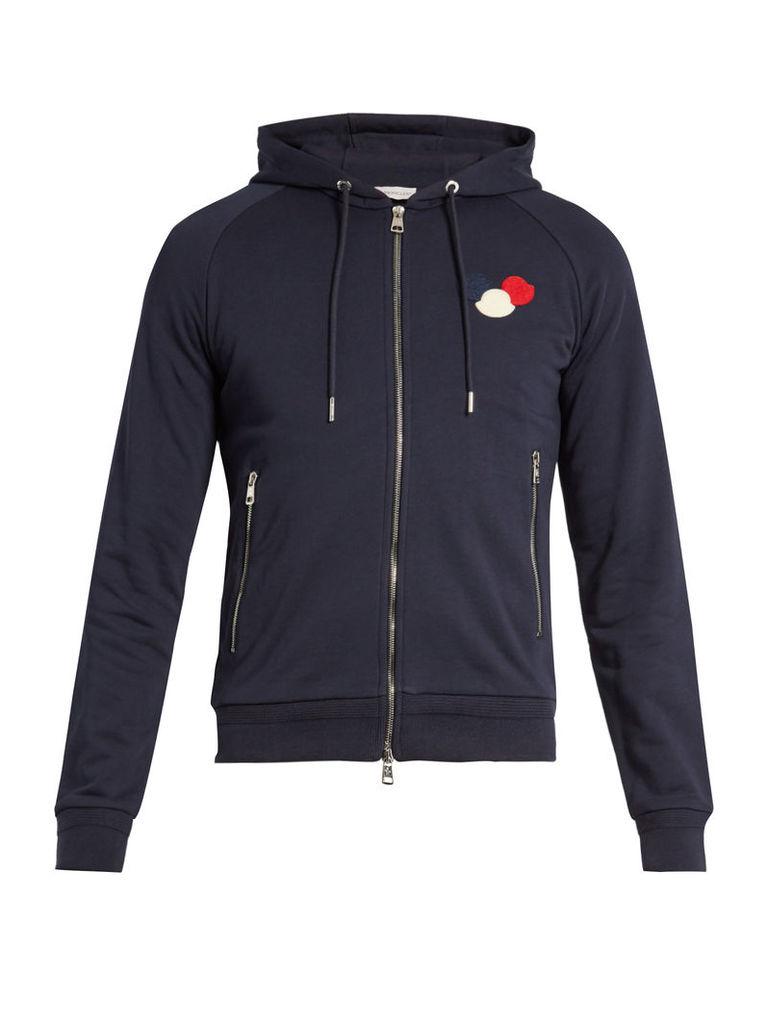 Zip-up cotton-jersey hooded sweatshirt
