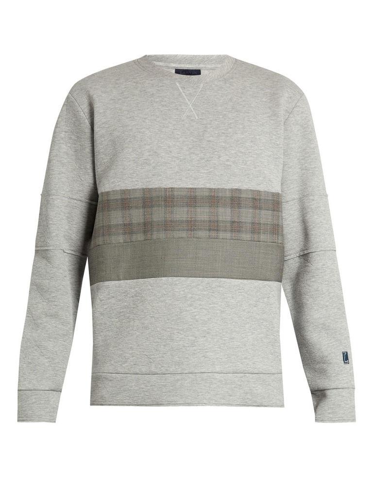 Checked-panel technical-jersey sweatshirt