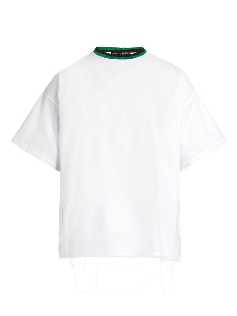 Baggy raw-edged cotton T-shirt