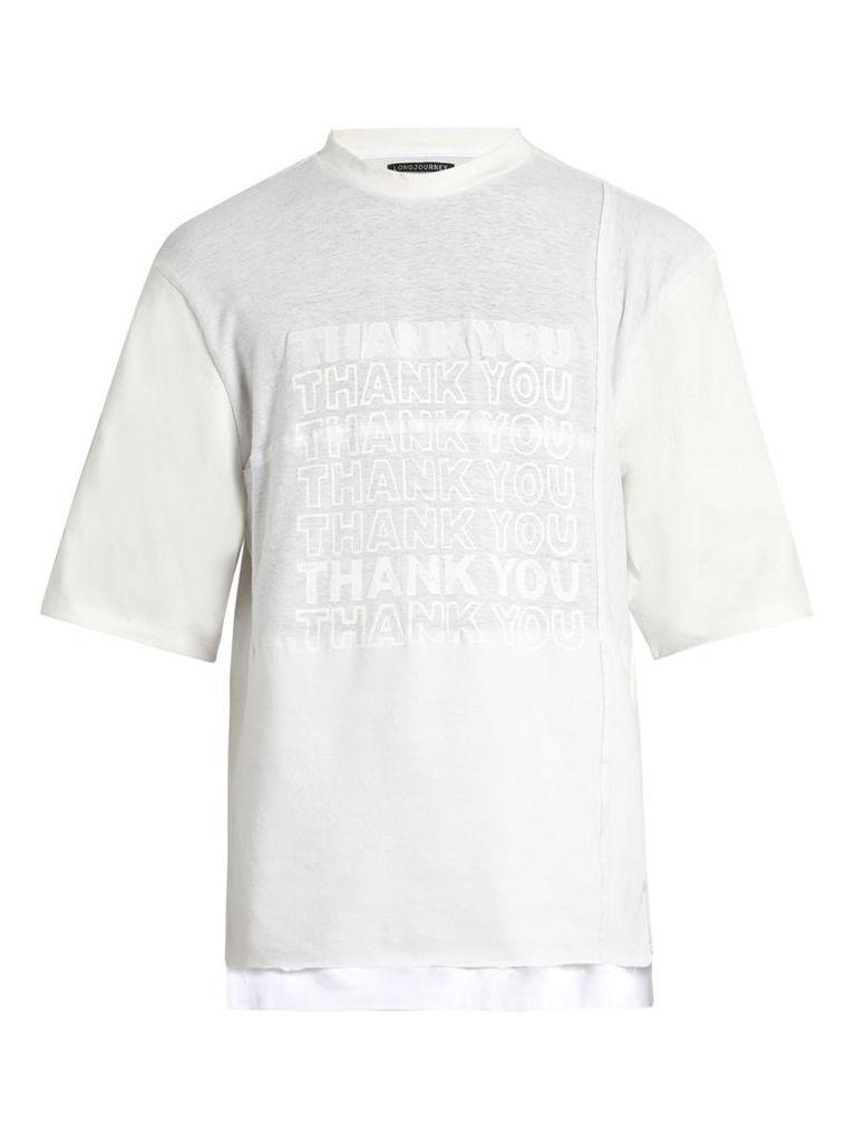 Nash Thank You-print cotton-jersey T-shirt