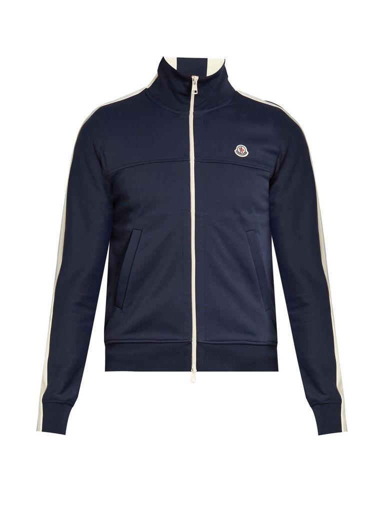Contrast-panel zip-up jersey sweatshirt