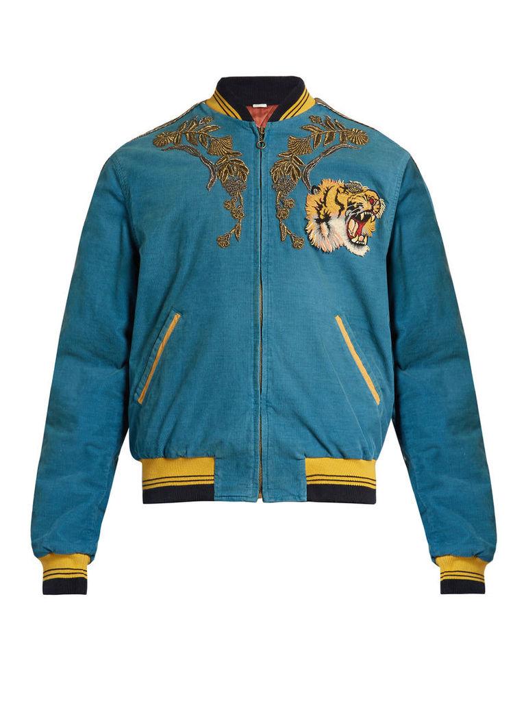 Dragon-embroidered corduroy bomber jacket