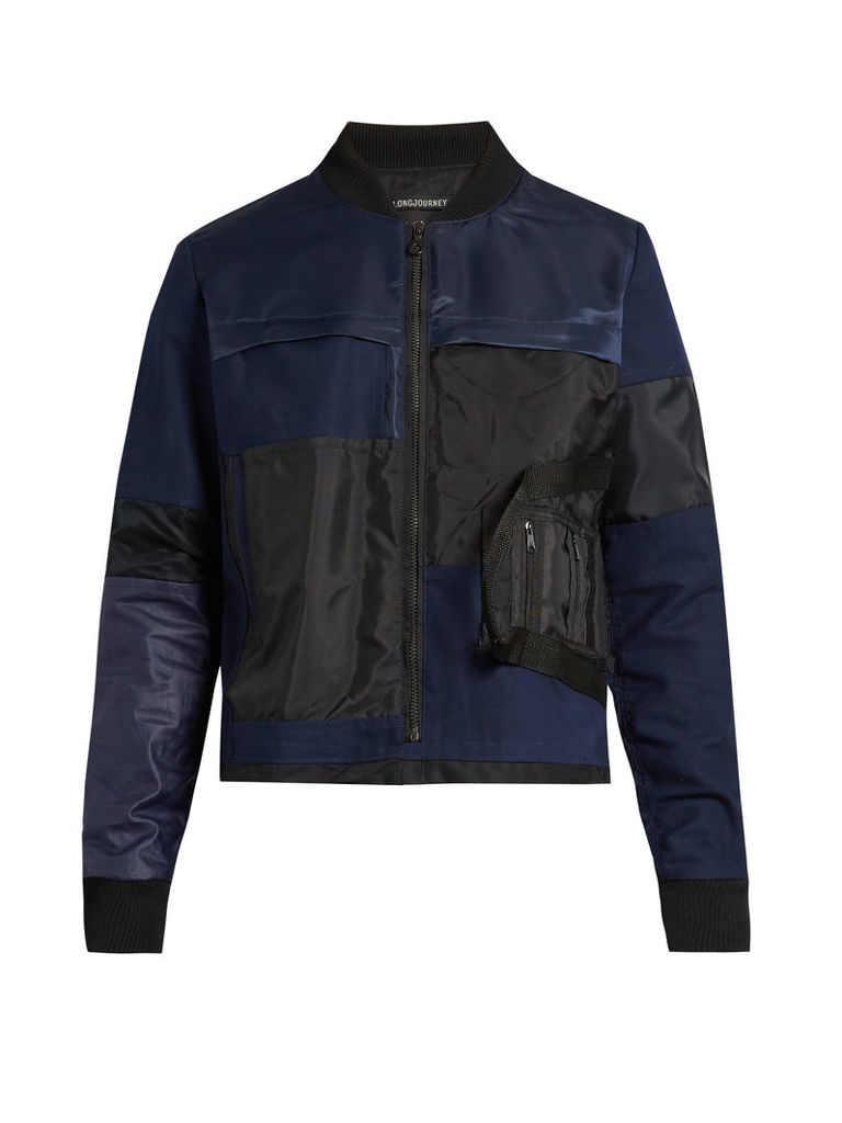 Patchwork cotton bomber jacket