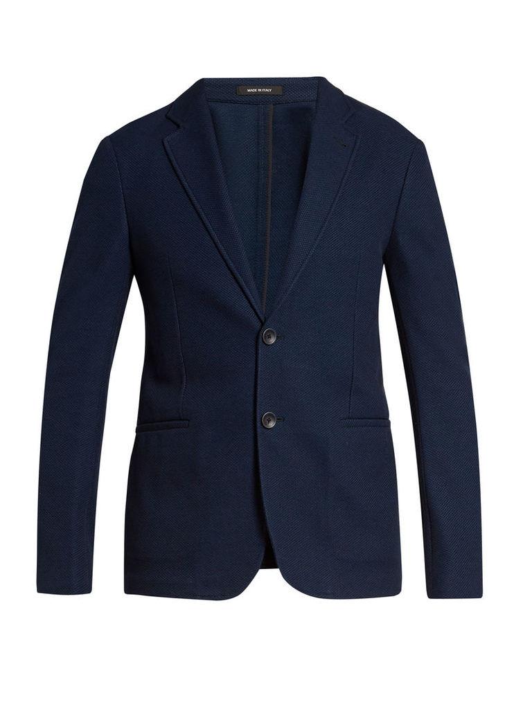 Notch-lapel single-breasted cotton blazer