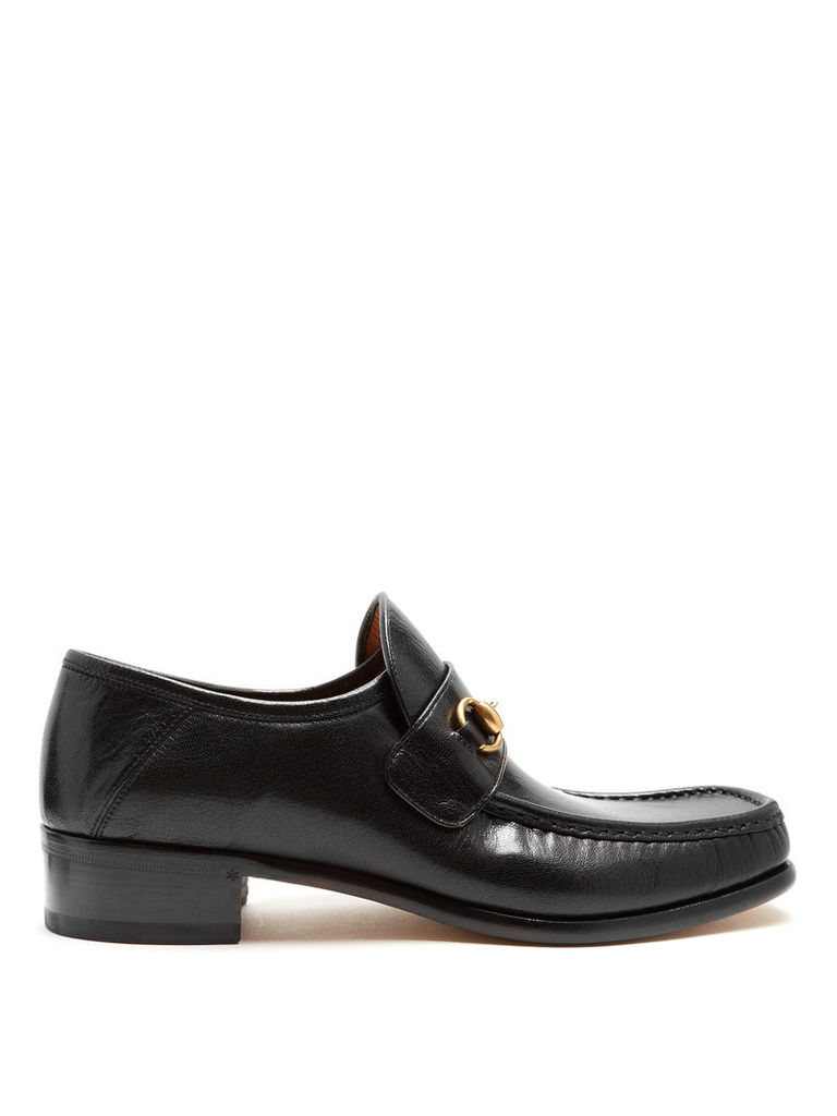 Horsebit square-toe leather loafers