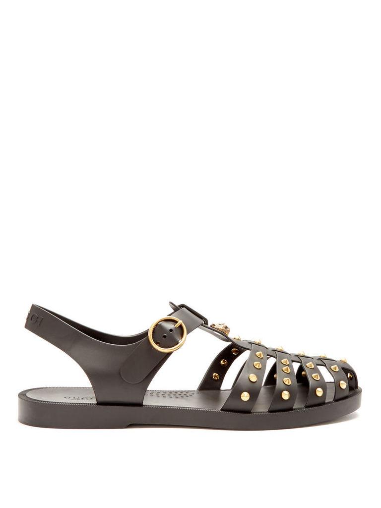 Stud-embellished rubber sandals
