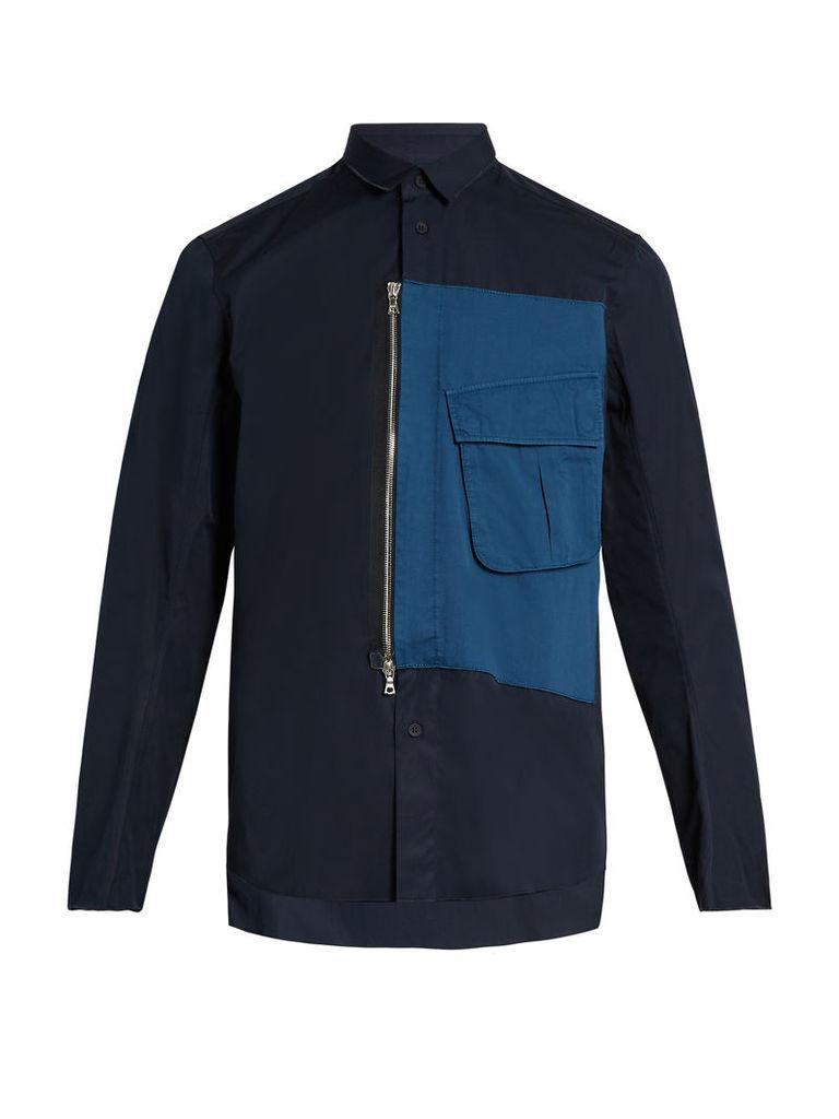 Overdyed short-sleeved cotton shirt