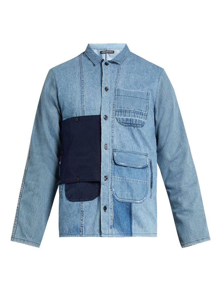 Utility button-patch cotton-denim shirt